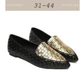 大尺碼女鞋小尺碼女鞋歐美牛津編織拼色休閒鞋尖頭娃娃鞋平底鞋女鞋包鞋黑金色(31-44)
