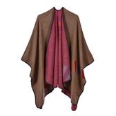 仿羊絨披肩-彩色條紋包邊雙面女圍巾5色73we38【巴黎精品】