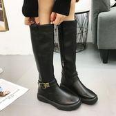 靴子女冬2018新款百搭長筒騎士靴女高筒皮靴圓頭皮帶扣中筒靴顯瘦