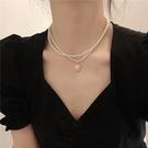 項鍊 優雅復古法式雙層珍珠項鍊女ins網紅鎖骨鍊簡約小眾設計脖子飾品 寶貝寶貝計畫 上新