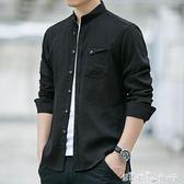 男士襯衫長袖韓版潮流秋季裝修身立領上衣服冰絲休閒襯衣  潔思米