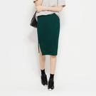 謝KIKI推薦-SISJEANS-綠色超彈力羅紋開衩裙【1719800407】