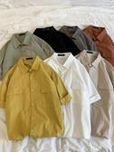 夏季純色短袖襯衫男士薄款外套寬鬆日系潮流工裝襯衣(快速出貨)