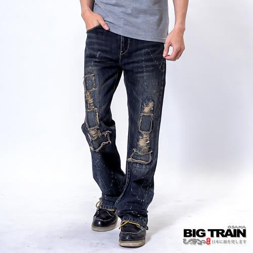 BIG TRAIN 低腰和風割破垮褲-男-深藍
