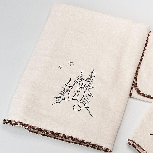 【南紡購物中心】[森之棉]  台灣黑熊-原棉兩用紗羅浴巾