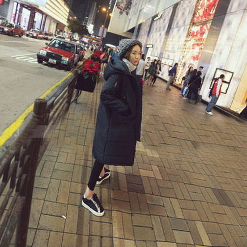免運★梨卡 - 情侶可穿【韓國製】羽絨棉外套-爆款匹諾曹朴信惠款超長款保暖大衣風衣外套A869