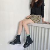 厚底短靴馬丁靴女針織靴秋季時尚英倫風百搭系帶厚底拼接短靴子 芊墨左岸