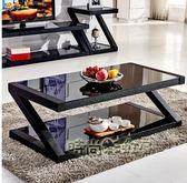 茶幾簡約客廳茶桌黑色鋼化玻璃茶幾餐桌兩用長方形創意小茶幾桌子igo「時尚彩虹屋」