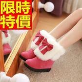 雪靴-甜美蝴蝶結內增高毛毛短筒女靴子4色64r50[巴黎精品]