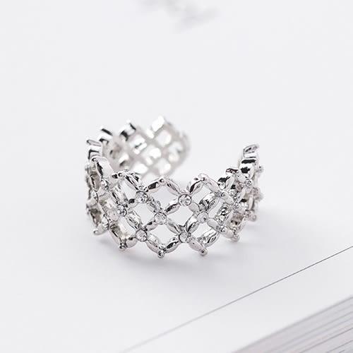 戒指.時尚大氣網格鑲鑽戒指.白鳥麗子