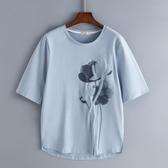 新款純棉中袖白色t恤女短袖寬鬆半袖大碼中年媽媽夏裝洋氣上衣服 亞斯藍生活館