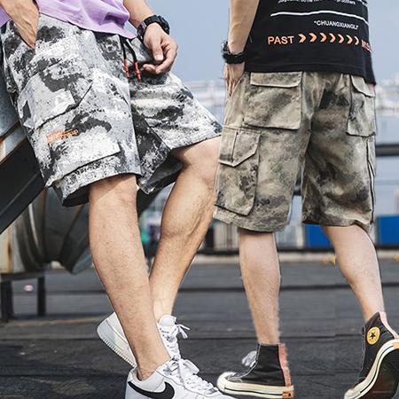 潮流迷彩刺繡多口袋休閒短褲 彈性腰工裝五分褲 3色 M-3XL碼【CM65245】