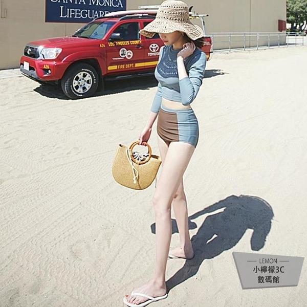 潛水服女長袖防曬水母衣遮顯瘦肚沙灘溫泉沖浪浮潛分體泳衣【小檸檬3C】