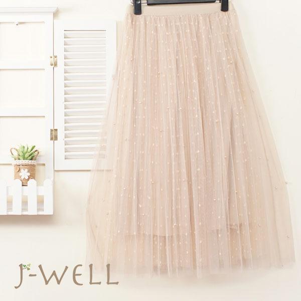 J-WELL 點點釘珠雙層網紗裙 9J1038 (2色)