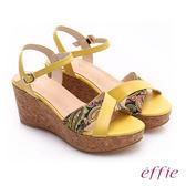 effie 摩登美型 真皮拼接民俗風布料楔型涼鞋  黃