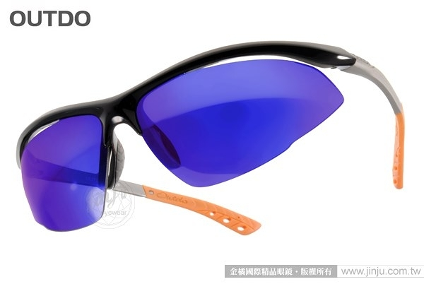 OUTDO 太陽眼鏡 TR367 NX1 (黑-橘) 運動時尚水銀鏡面款 墨鏡 # 金橘眼鏡