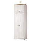 【森可家居】頌伊2.5x8尺雙門高衣櫃 10ZX145-3 衣櫥 鄉村風 白色 MIT台灣製造