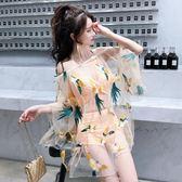 泳衣女三件套韓國小香風罩衫分體裙式性感比基尼小胸聚攏遮肚顯瘦 全館免運