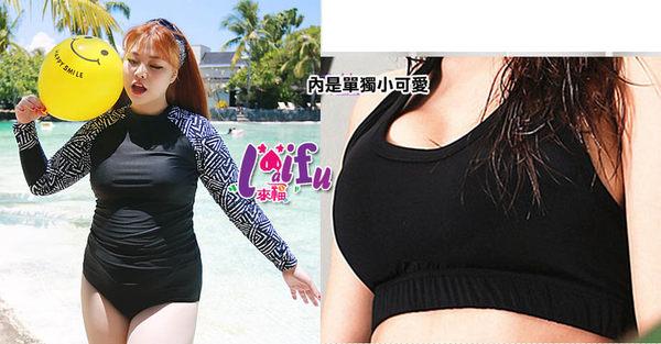 ★草魚妹★G129加大泳衣美布朗四件式泳衣加大泳衣游泳衣泳裝比基尼,售價1200元
