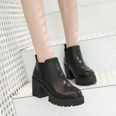 2018冬季新款韓版百搭中粗跟厚底馬丁靴英倫風復古裸踝靴短筒靴女