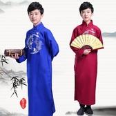 新款兒童相聲服 長袍馬褂舞臺裝民國時尚長衫男女童表演出服印花 超值價
