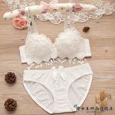 日系白色純棉性感蕾絲聚攏文胸套裝『韓女王』
