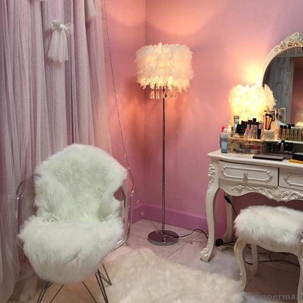 現代簡約客廳落地燈 水晶燈飾具羽毛臥室裝飾羽毛檯燈 jy 雙12快速出貨八折下殺