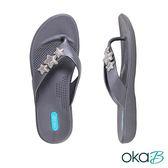 【Oka-B】ARIEL星星配飾人字夾腳涼拖鞋  灰色(K905AR-GRY)