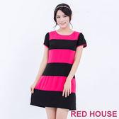 RED HOUSE-蕾赫斯-圓領條紋拼接短袖洋裝(桃紅色)