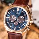 【公司貨保固】CITIZEN 三眼光動能時尚簡約計時腕錶 Eco-Drive 藍金 CA4283-04L