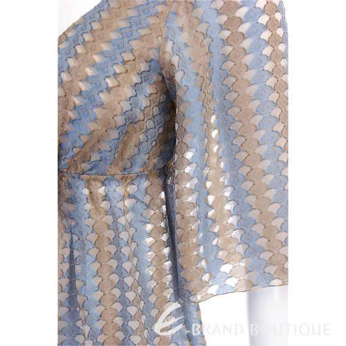Kristina Ti 藍/金色條紋V領雪紡上衣 0730187-23