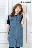 背心裙--經典質感牛仔壓紋設計多口袋顯瘦單寧連身裙/背心(藍L-3L)-U490眼圈熊中大尺碼◎