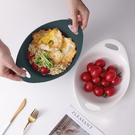 原點居家 釉下彩啞光色系 水果沙拉陶瓷碗泡麵碗雙耳湯碗烤碗雙耳蛋型碗 700ml