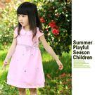夏日《翻領網紗款-粉色》連身小洋裝