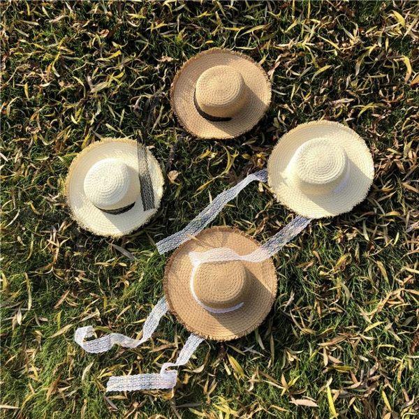 系帶綁帶蝴蝶結毛邊平頂草帽 夏天出游遮陽帽子m21
