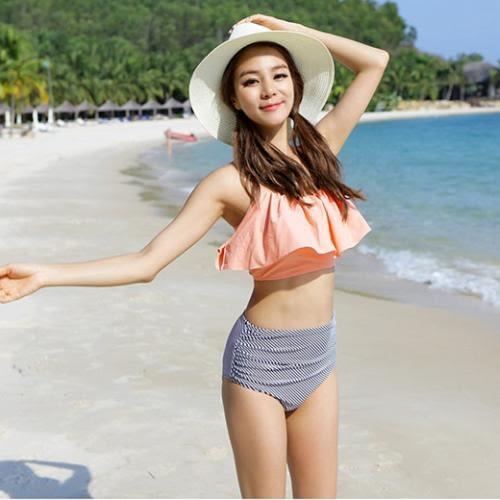 比基尼bikini  je熱賣甜美  兩件式高腰荷葉邊遮胸 泳衣泳裝比基尼溫泉 【231j】