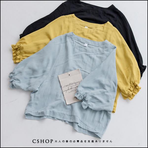 棉麻衫  優雅花苞袖涼感棉麻衫  三色-小C館日系