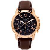 FOSSIL 羅馬優雅風計時的皮帶手錶(FS5068)-靛色面X咖啡色/44mm