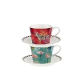 {情人節首選}英國SaraMiller設計聯名款-Tahiti系列-200ml杯盤禮盒組 2入 (斑馬&紅鶴)
