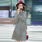 ★韓美姬★中大尺碼~優雅領口綁帶鬆緊腰印花長袖洋裝(XL~5XL)