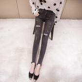依米迦 牛仔褲 春新版褲腳不規則打釘破洞貼布時尚顯瘦鉛筆牛仔褲
