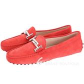 TOD'S Gommino Driving 雙T金屬麂皮豆豆休閒鞋(女鞋/橘紅) 1630208-54