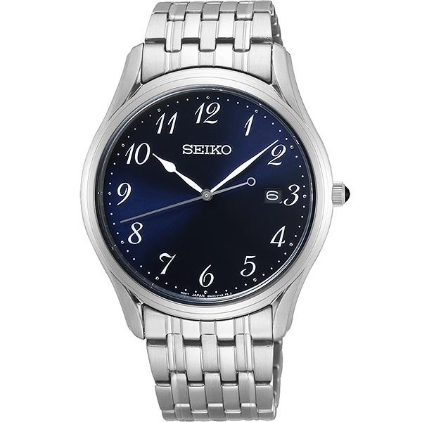 【台南 時代鐘錶 SEIKO】精工 大三針簡約時尚男錶 SUR301P1@6N42-00K0B 藍 39mm