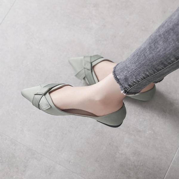 平底單鞋女夏款尖頭仙女網紅軟皮淺口瓢鞋女歐洲站百搭豆豆鞋 麥琪精品屋