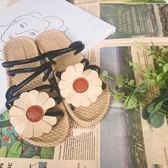 涼鞋女 平底百搭太陽花露趾舒適沙灘花朵學生兩穿仙女的鞋多色小屋