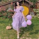 方領洋裝 泡泡袖茶歇裙中長款收腰夏季氣質小裙子chic女裝連身裙2021年新款 寶貝 免運