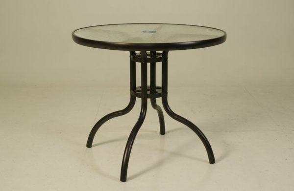 【南洋風休閒傢俱】戶外桌椅系列 - 半鋁玻璃桌椅組 戶外桌椅組 80CM圓桌 鐵製紗網椅(A47A17 C96001)