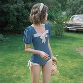 泳衣 新款泳衣女遮肚顯瘦保守連身學生INS超仙少女短袖溫泉比基尼