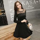 中大尺碼~優雅A字裙襬長袖針織洋裝(4XL)
