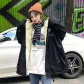 限定款連帽外套女秋冬保暖新品正韓學生bf原宿風寬鬆加厚棉衣工裝棉服